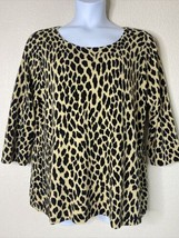 Cato Womens Plus Size 18/20W Animal Print Knit Blouse 3/4 Sleeve Scoop Neck - $15.84