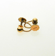 9 Carat Yellow Gold Screw Clip Earring Hangers Bead and Hoop - $36.14