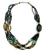 Vintage 80's Multi Strand Beaded BOHO Necklace - $21.78