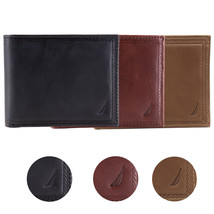 Nautica Men's Genuine Vintage Leather Credit Card ID Billfold Passcase Wallet
