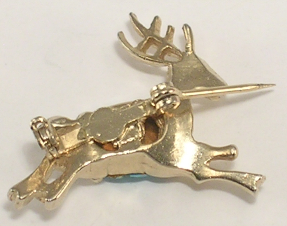 Reindeer Scatter Pin Gold Colored Metal & Ice Blue Stone Belly Tiny Brooch