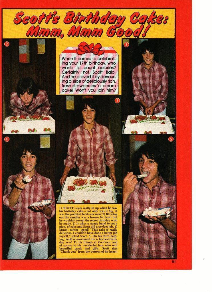 Scott Baio teen magazine pinup clipping Happy Birthday cake Tiger Beat Bop