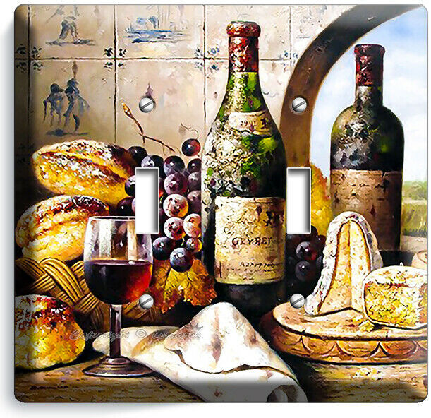 FRENCH AGED WINE CHEESE GRAPES BREAD DOUBLE LIGHT SWITCH PLATES KITCHEN HD DECOR