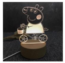 3D LED Lamp Creative Wood grain Night Lights Novelty Illusion Night Illusion 3 - $12.40