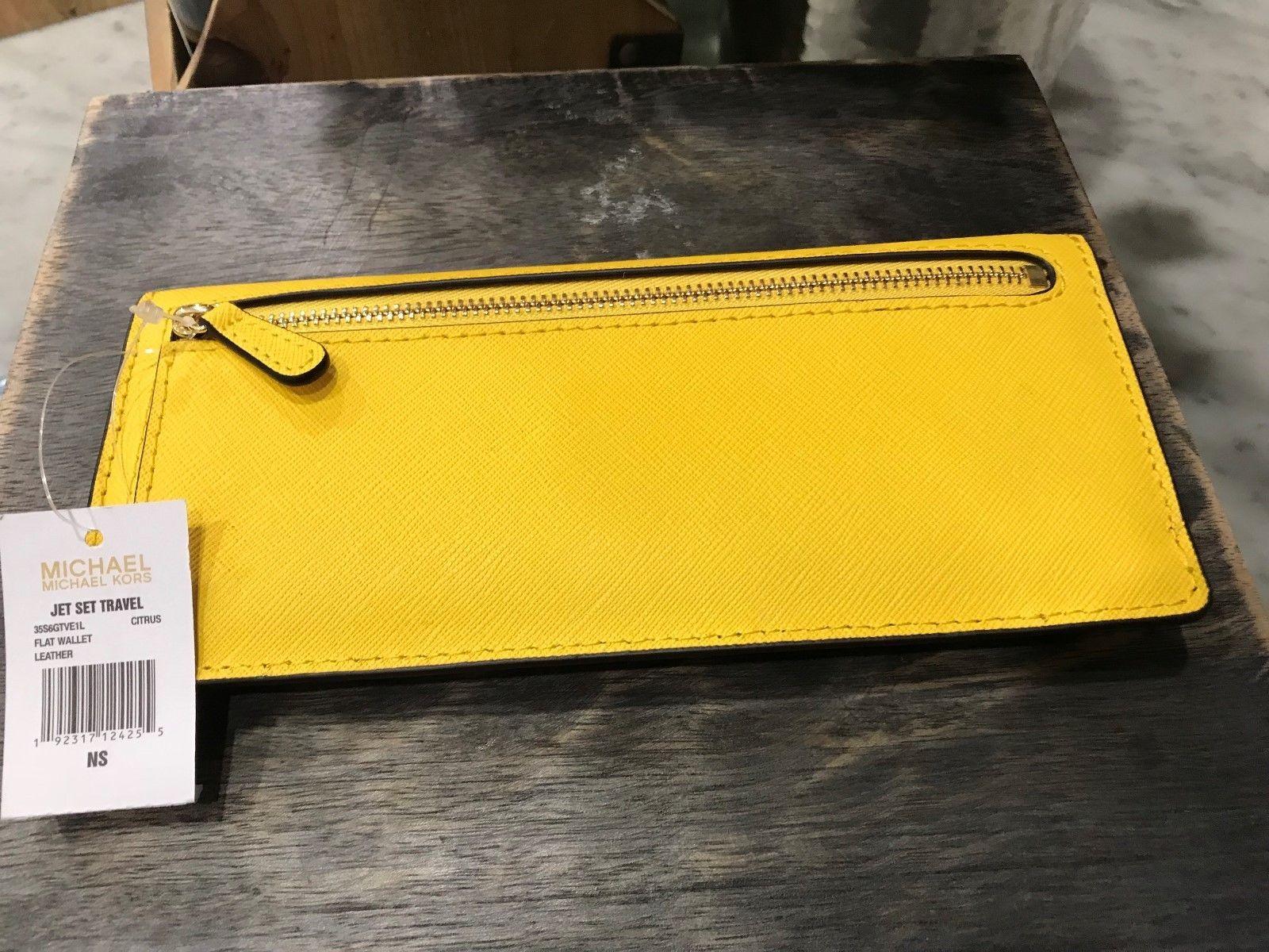 "Michael Kors Jet Set Flat ""Skinny"" Wallet in Citrus Saffiano Leather Msrp $128"