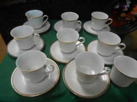 "Sheffield ""Regency Gold"" Porcelain Fine China Set 8 Cups & Saucers & 1 Free Cup - $42.16"