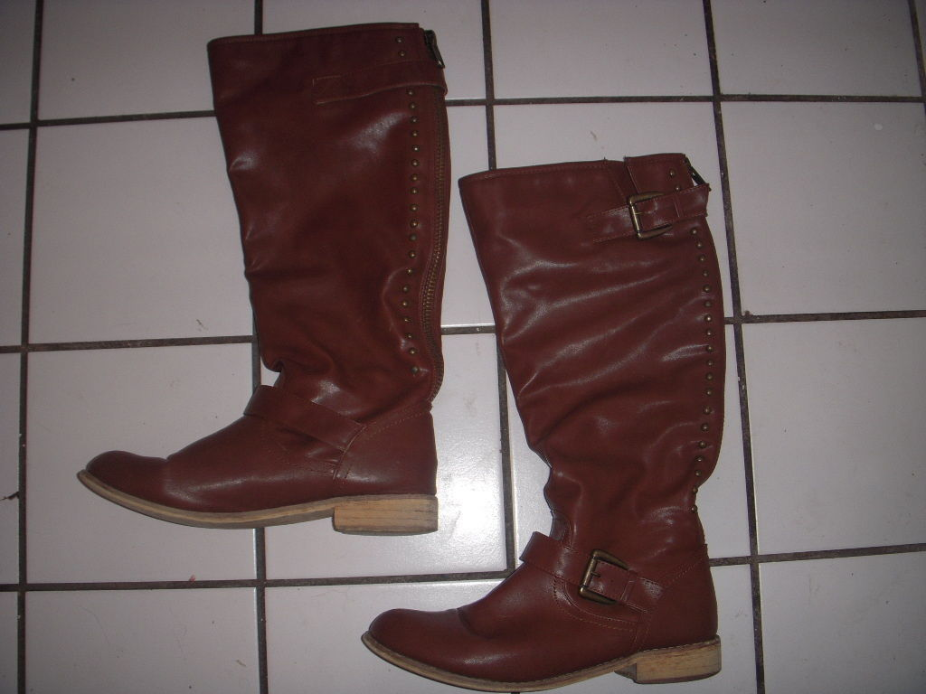 """Forever 21 Tall Cognac Stud Back Zip Size 9.5 Faux Leather 17"""" Wide Calf Boots - $30.00"""