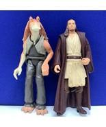 Star Wars action figure toy vintage Kenner 1999 Qui Gon Jinn Jar Binks m... - $17.30