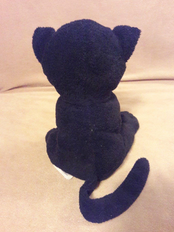 "TY Pluffies TRICKERY Black Orange Halloween KITTY CAT KITTEN Plush 8"" 2009 TyLux"