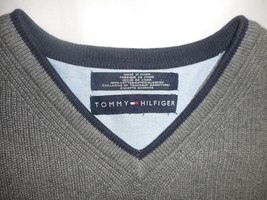 Tommy Hilfiger M Gray Knit V-Neck 100% Cotton Pullover Sleeveless Sweater Vest image 2