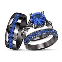 His & Her Blue Sapphire Wedding Ring Trio Set 10k Black Gold Finish 925 Silver - $165.98