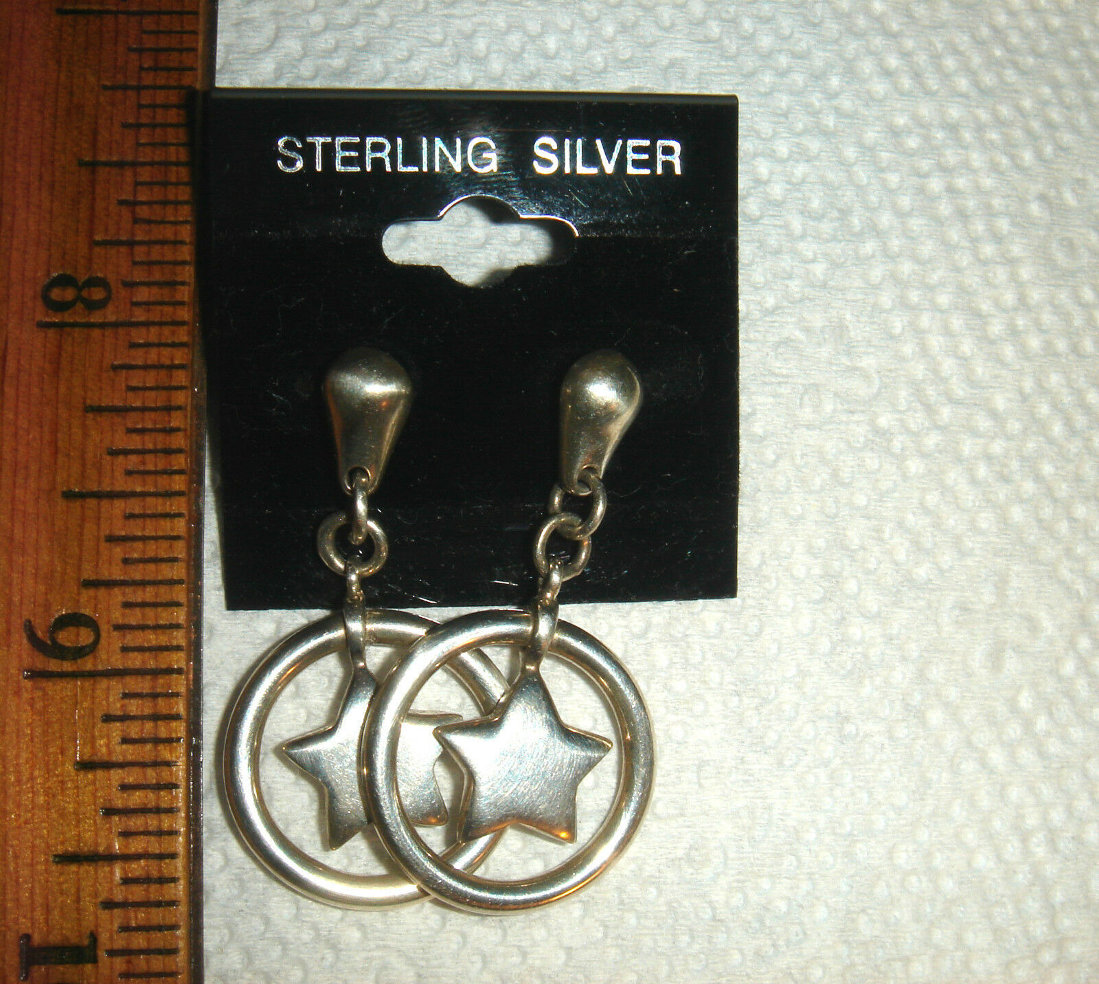 VTG STERLING SILVER WESTERN STAR DANGLE EARRING BEFORE DIAMONIQUE NECKLACE SET