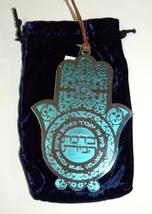 Judaica Kabbalah Home Blessing Hamsa Hebrew Turquoise Silver Plated Wall Hang image 2