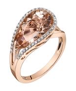 14K Rose Gold 4.25 Carat Pear Shape Morganite Ring - $939.99