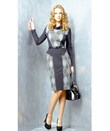 DRESS WEAR TO WORK BELTED PEPLUM LONG SLEEVE COWL NECK CONTRAST MADE IN ... - $109.00