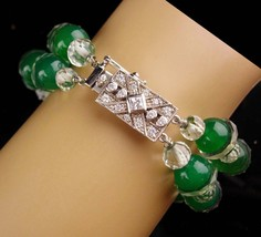 Art deco cut crystal bracelet / Vintage filigree sterling clasp - Green ... - $145.00