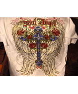 CROSS WITH WINGS AND FLOWERS T-SHIRT - $11.65