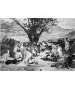 ARABS in Their Camp - 1876 ETCHING Print after Painting by Vernet - $31.46