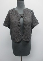 SUNDANCE Black Wool Blend Cap Sleeve One Button Cardigan Sweater Size L ... - $25.65