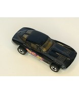 Hot Wheels Sting Ray Corvette Black Door Flames Toy Car Plastic Base Mal... - $5.09