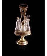 Antique victorian castor bottle set - fancy etched glass cruets - weddin... - $150.00