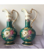 Two Bavaria Germany Porcelain Hand Painted Pitchers/Vases-Gold Handles   - $65.00