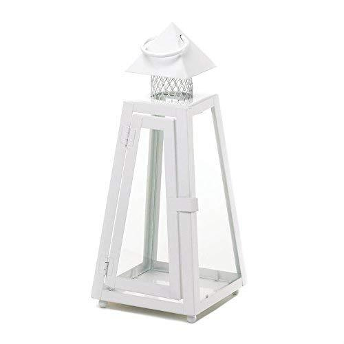 White Candle Lantern, Decorative Wrought Metal Lanterns for Candles (Sold by Cas