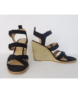 NIB Pour La Victoire Oralee Espadrille Wedge Sandal Leather Sz 10 M Blac... - $98.95