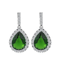 Green Cubic Zirconia Wedding Big Drop Dangle Earrings for Women Bridal - $12.86