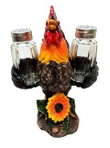 SPICE TO CROW ABOUT ROOSTER CHICKEN SALT PEPPER SHAKERS HOLDER FIGURINE ... - $19.74