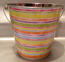 Celebrate The Season Pastel Stripe Tin Bucket - Easter Basket, Flower Pot - Cute - $7.94