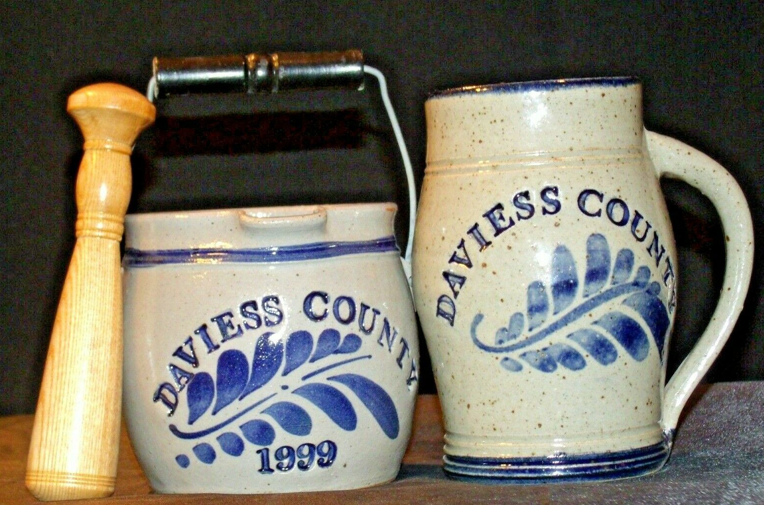 Daviess County Westerwald Stoneware Pitcher & Bowl with handles/ Wood Pestle AA-