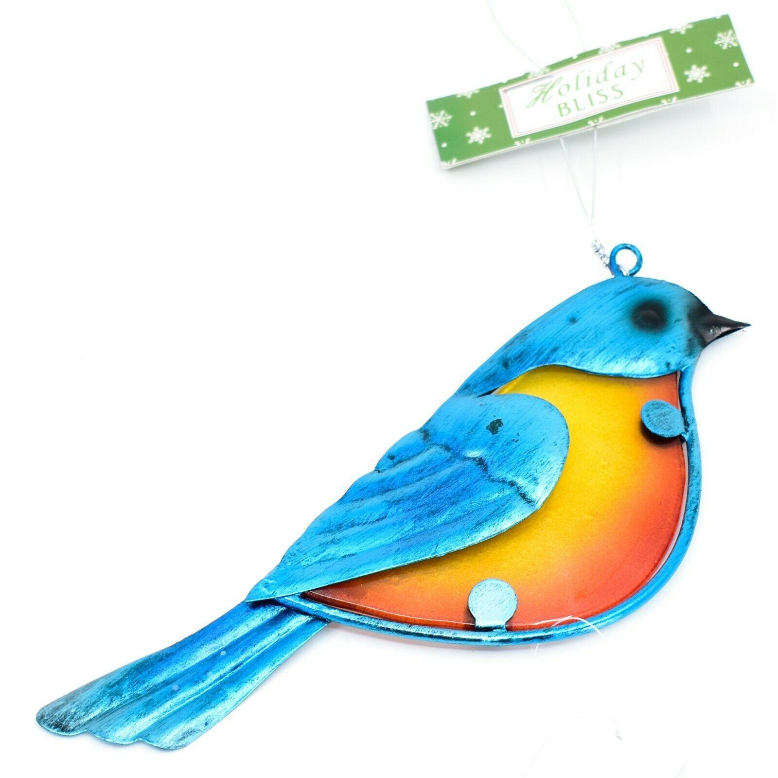 Metal & Glass Bluebird Blue Bird Hanging Suncatcher Ornament