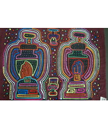 Kuna Abstract Art Mola Hand stitched Applique Details Oil Lamp Motif Pan... - $66.49