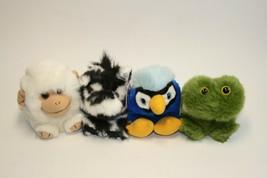 Lot of 4 Puffkins Plush Dolls Sheep, Zebra, Bluejay & Frog - Lot # 4 - $11.87