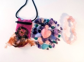 Stress Relief and Anxiety Crystal Healing Pouch + Rose Quartz Bracelet - $32.60 CAD