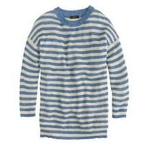 J. CREW Heather Stripe Sweater Linen Blend Striped Blue Cream Top Women'... - $12.37