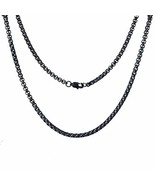 FEEL STYLE 4mm Stainless Steel Black Rolo Necklace for Men Women — Box C... - $5.00