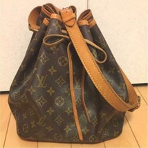 Auth Louis Vuitton Noe Shoulder Bag Brown Leather Logo Drawstring Medium... - $409.86