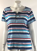 Chaps Womens Top Plus Size 2X Blue Red White Striped Lace Up Neck Cotton Shirt - $15.83