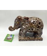 Elephant Cut-work Design Ceramic Golden Glazed Pattern Outdoors by Desig... - $22.76