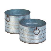 Galvanized Planter, Round Decorative Garden Outdoor Zinc Alloy Round Pla... - $63.39