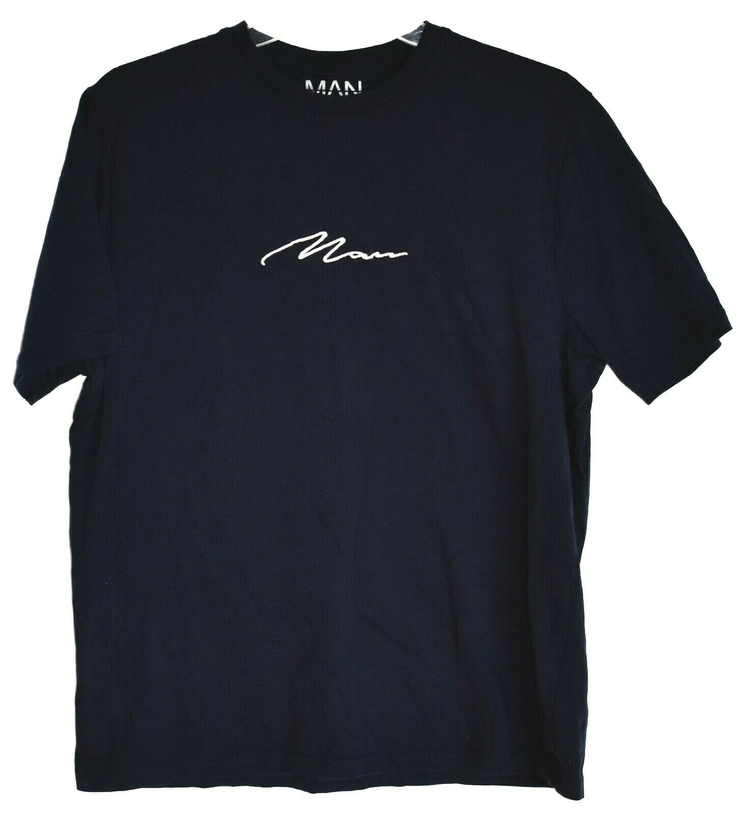 Boohoo Man boohooMAN Navy Blue Embroidered Crew Neck T-Shirt Size L