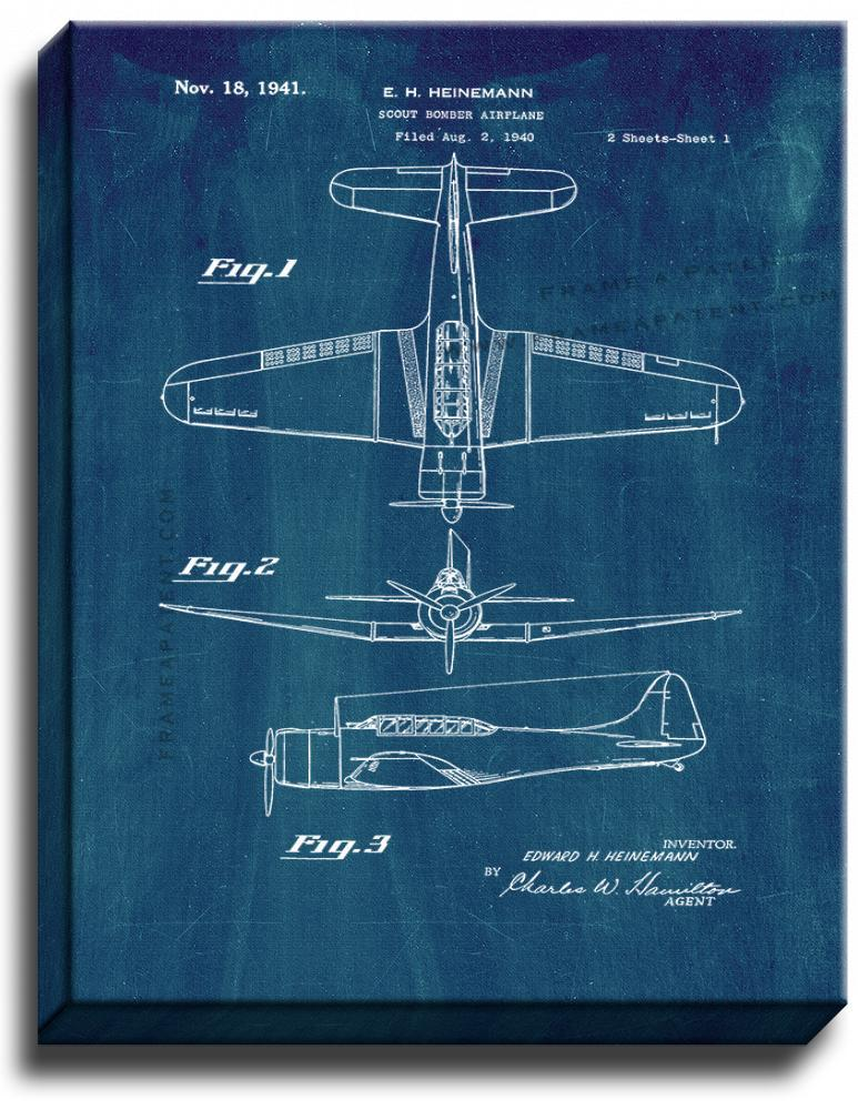 Primary image for Scout Bomber Airplane Patent Print Midnight Blue on Canvas