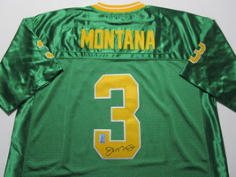JOE MONTANA / AUTOGRAPHED NOTRE DAME GREEN & GOLD THROWBACK JERSEY / PLAYER HOLO image 1