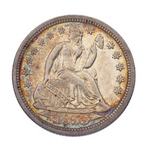 1855 10C Seated Dime in AU Condition, Some Nice Toning on Both Sides - $148.49