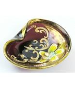 Bohemian Czech Glass Amber/Purple Trinket Dish Gold Enamel Hand Painted ... - £21.76 GBP