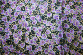 THE GREAT WALL-PURPLE AND BLACK LEAVES FRON RJR - 100% COTTON FABRIC - $7.91