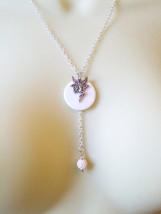 fairy necklace white circle pendant necklace silver chain fantasy bead d... - $2.40