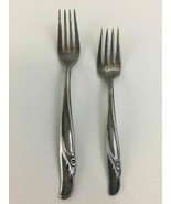 IS Rogers Bros Reinforced Silver Plate Pair of Floral Dinner Salad Fork ... - $13.39